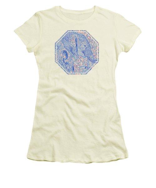 Zentangle Elephant-oil Women's T-Shirt (Junior Cut) by Becky Herrera