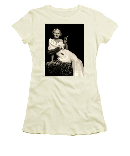 Ziegfeld Model Reclining In Evening Dress  Holding Cigarette By Alfred Cheney Johnston Women's T-Shirt (Athletic Fit)