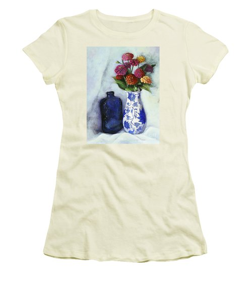 Zinnias With Blue Bottle Women's T-Shirt (Junior Cut) by Marlene Book