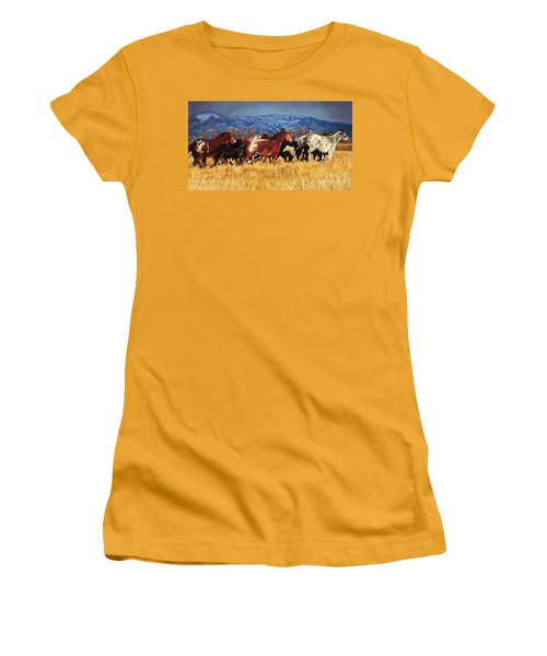 Women's T-Shirt (Junior Cut) featuring the painting Joe's Horses by Tim Gilliland