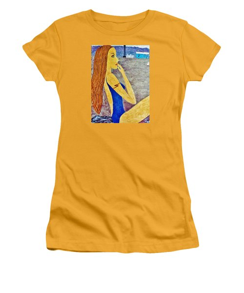 Women's T-Shirt (Junior Cut) featuring the painting Lady  by Jasna Gopic