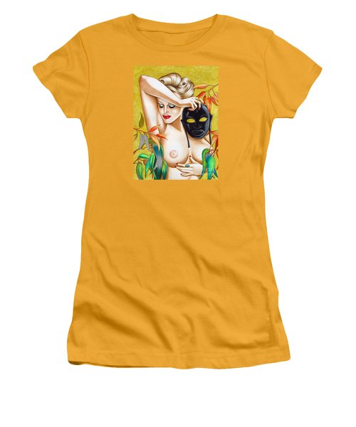 Woman With Mask Women's T-Shirt (Junior Cut) by Joseph Sonday