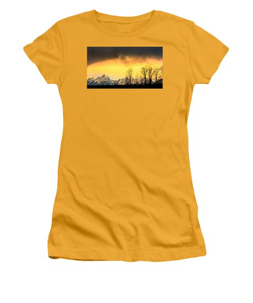 Women's T-Shirt (Junior Cut) featuring the photograph Grand Tetons Wyoming by Amanda Stadther