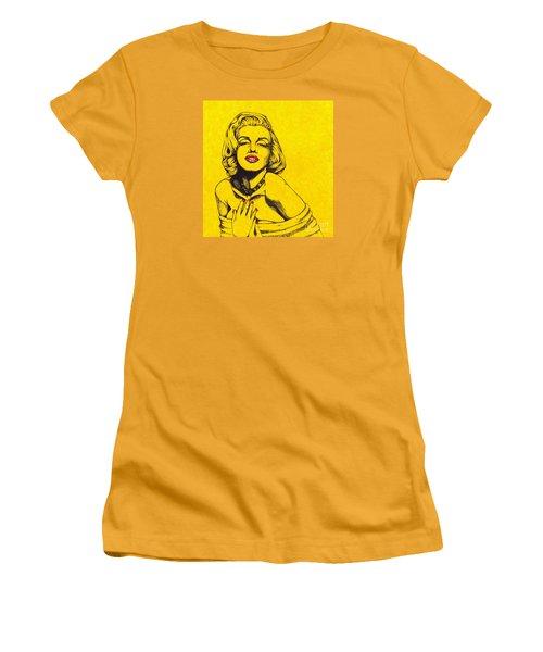 Marilyn In Yellow Women's T-Shirt (Junior Cut) by Joseph Sonday