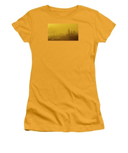 Women's T-Shirt (Junior Cut) featuring the photograph A Foggy Golden Sunset In Honolulu Harbor by Lehua Pekelo-Stearns