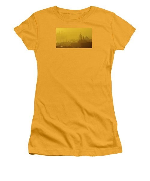 A Foggy Golden Sunset In Honolulu Harbor Women's T-Shirt (Athletic Fit)