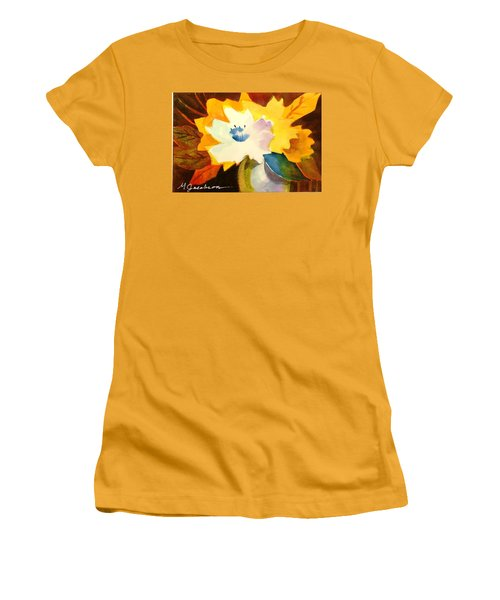 Abstract Flowers 2 Women's T-Shirt (Junior Cut) by Marilyn Jacobson
