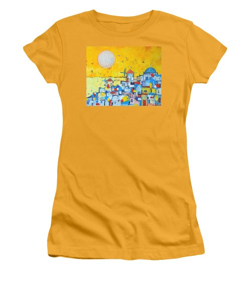 Abstract Santorini - Oia Before Sunset Women's T-Shirt (Junior Cut) by Ana Maria Edulescu