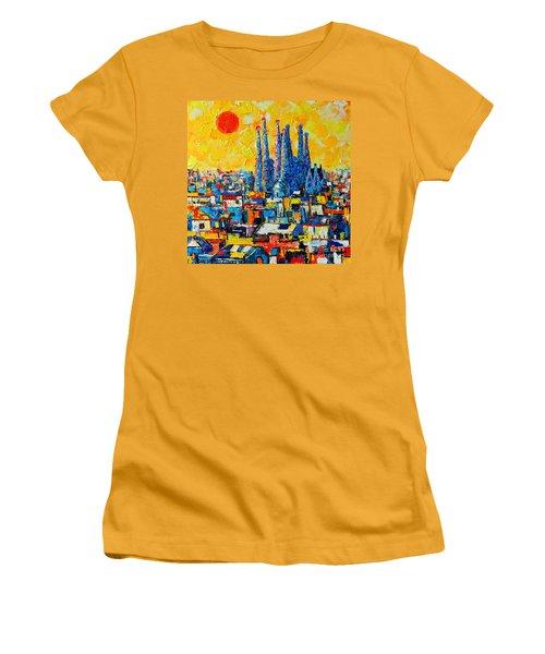 Abstract Sunset Over Sagrada Familia In Barcelona Women's T-Shirt (Junior Cut) by Ana Maria Edulescu