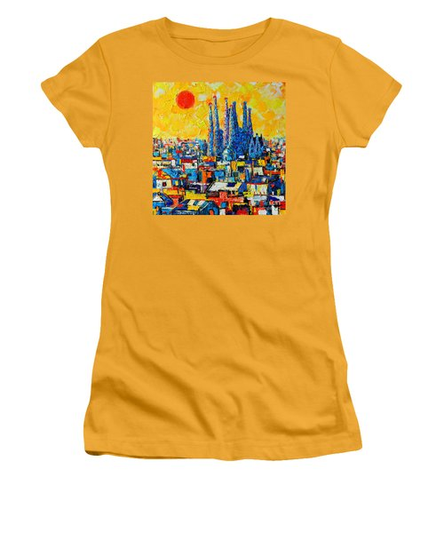 Abstract Sunset Over Sagrada Familia In Barcelona Women's T-Shirt (Athletic Fit)