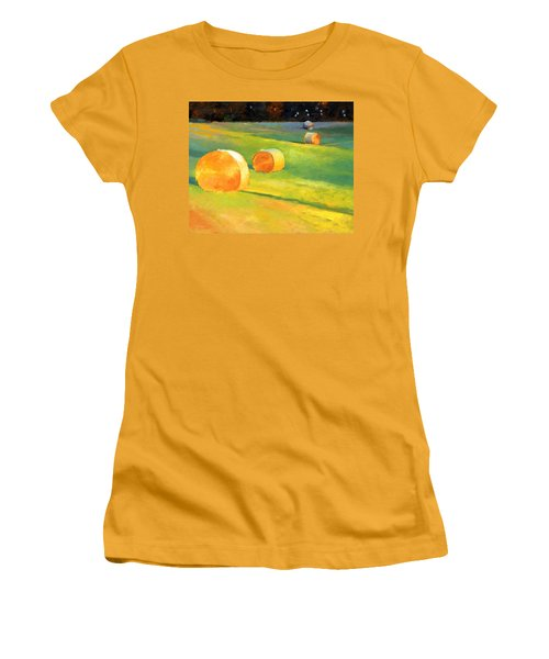 Advance Mills Hall Bales Women's T-Shirt (Junior Cut) by Catherine Twomey