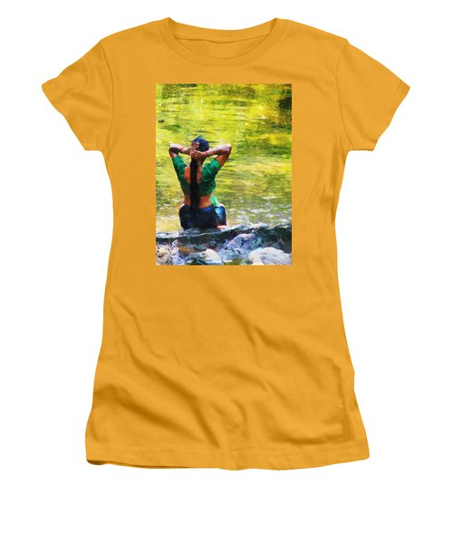 After The River Bathing. Indian Woman. Impressionism Women's T-Shirt (Junior Cut) by Jenny Rainbow