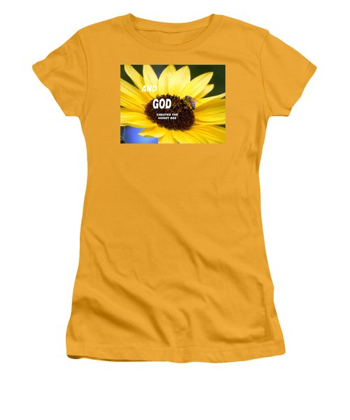 And God Created The Honey Bee Women's T-Shirt (Junior Cut) by Belinda Lee