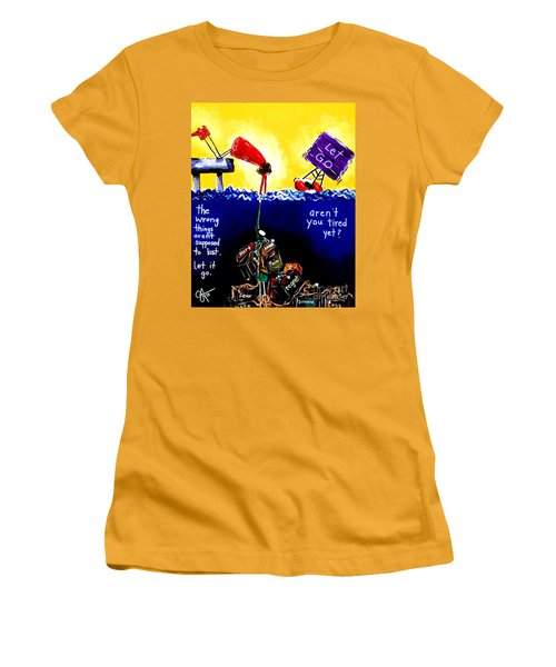 Women's T-Shirt (Junior Cut) featuring the painting Aren't You Tired Yet? by Jackie Carpenter