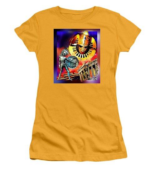 Women's T-Shirt (Junior Cut) featuring the mixed media Atlantis - The Minoan Empire Has Fallen by Hartmut Jager