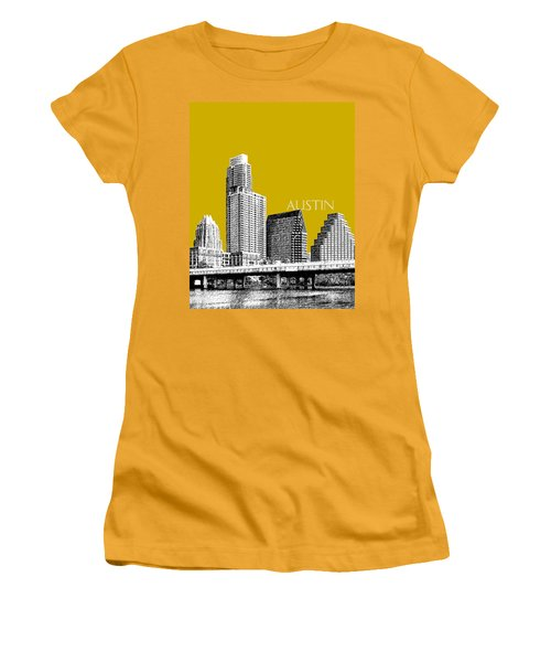 Austin Texas Skyline - Gold Women's T-Shirt (Athletic Fit)