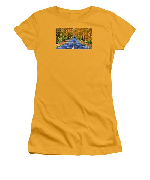 Autumn Road Oneida County Ny Women's T-Shirt (Junior Cut) by Diane E Berry