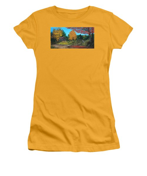 Autumns Rustic Path Women's T-Shirt (Junior Cut) by Wendy Shoults