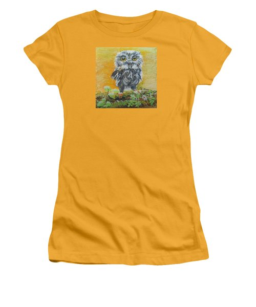 Baby Owl Women's T-Shirt (Junior Cut) by Christine Lathrop