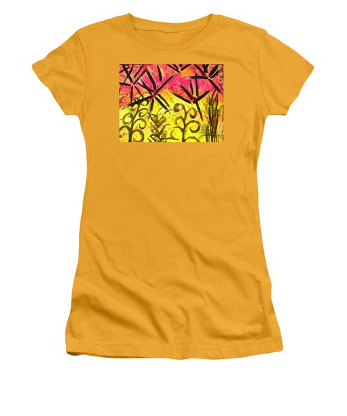 Women's T-Shirt (Junior Cut) featuring the painting Bamboo In The Wind by Joan Reese