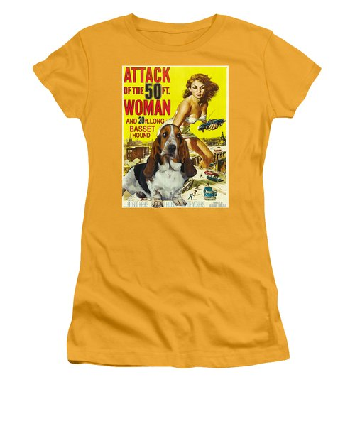 Basset Hound Art Canvas Print - Attack Of The 50ft Woman Movie Poster Women's T-Shirt (Athletic Fit)