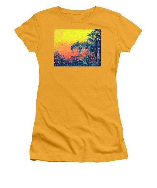 Women's T-Shirt (Junior Cut) featuring the painting Bayou Honeymoon by Alys Caviness-Gober