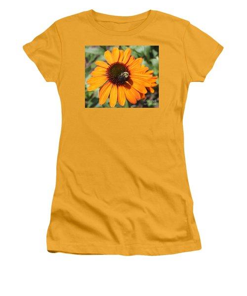 Women's T-Shirt (Junior Cut) featuring the photograph Bee On Flower by John Telfer