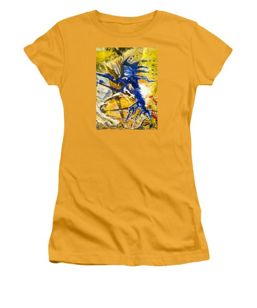 Women's T-Shirt (Junior Cut) featuring the painting Beyond Boundaries by Kicking Bear  Productions