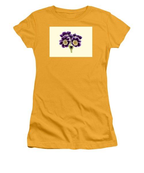 Blue Auricula On A Cream Background Women's T-Shirt (Junior Cut) by Paul Gulliver