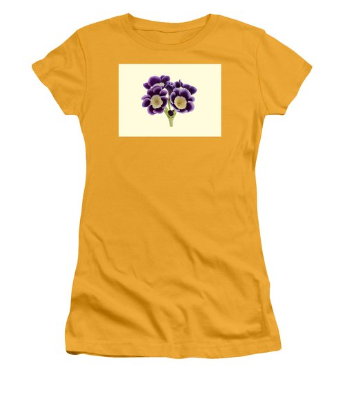 Blue Auricula On A Cream Background Women's T-Shirt (Athletic Fit)