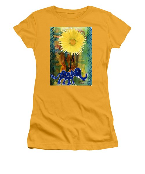 Women's T-Shirt (Junior Cut) featuring the painting Blue Elephant In The Rainforest by Mukta Gupta