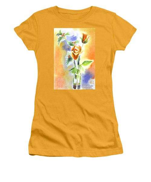 Women's T-Shirt (Junior Cut) featuring the painting Blue With Redy Roses And Holly by Kip DeVore