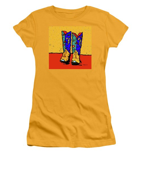 Boots On Yellow Women's T-Shirt (Athletic Fit)