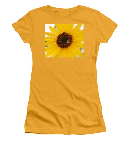 Women's T-Shirt (Junior Cut) featuring the photograph Vibrant Bright Yellow Sunflower With Honey Bee  by Jerry Cowart