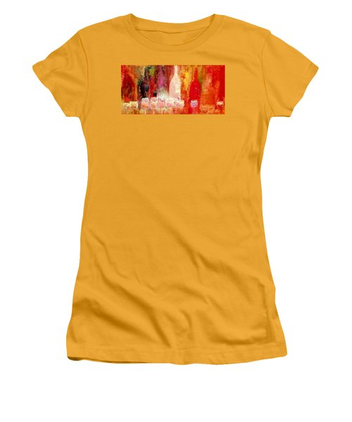 Women's T-Shirt (Junior Cut) featuring the painting Broadway Wine Chorus  by Lisa Kaiser