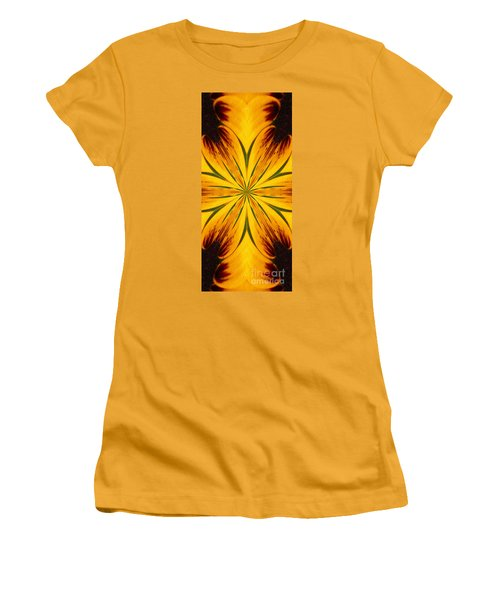 Brown And Yellow Abstract Shapes Women's T-Shirt (Athletic Fit)