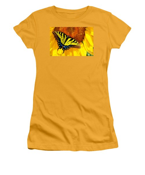 Butterfly And The Sunflower Women's T-Shirt (Athletic Fit)