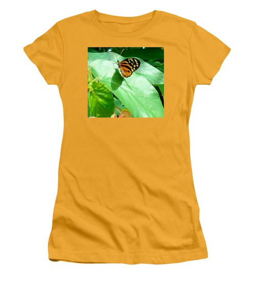 Women's T-Shirt (Junior Cut) featuring the photograph Butterfly Chasing Shadow by Janette Boyd
