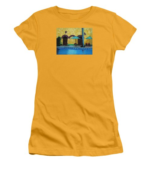Women's T-Shirt (Junior Cut) featuring the painting By The Poolside by Jeanne Fischer