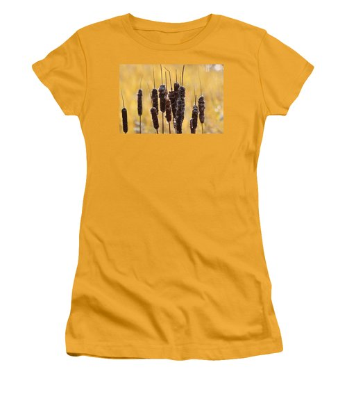 Women's T-Shirt (Junior Cut) featuring the photograph Cat Tails In November by Bruce Patrick Smith