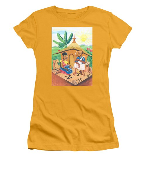 Women's T-Shirt (Junior Cut) featuring the painting Celebration Of The Nativity In Rwanda by Emmanuel Baliyanga