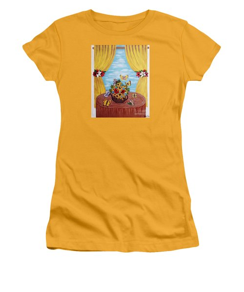 Women's T-Shirt (Junior Cut) featuring the painting Cheerful Butterflies by Jasna Gopic