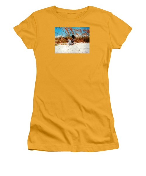 Windy Seagull Landing Women's T-Shirt (Junior Cut) by Belinda Lee