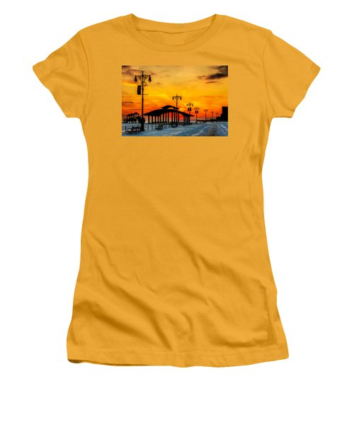 Coney Island Winter Sunset Women's T-Shirt (Junior Cut) by Chris Lord