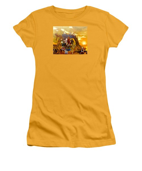 Women's T-Shirt (Junior Cut) featuring the painting Constructors Of Time by Henryk Gorecki