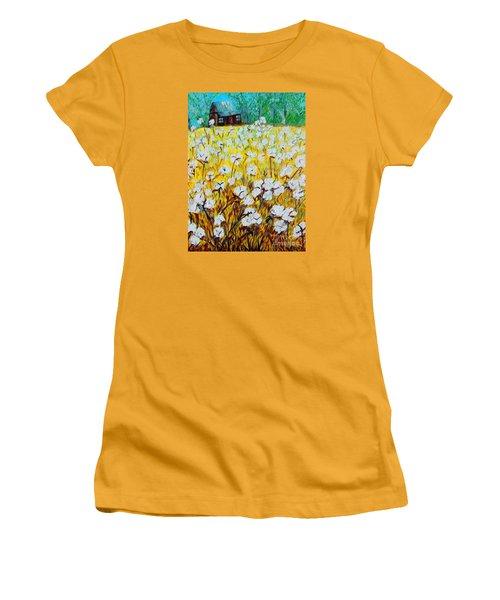 Cotton Fields Back Home Women's T-Shirt (Junior Cut) by Eloise Schneider