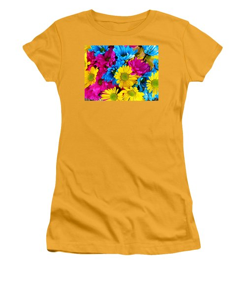 Women's T-Shirt (Junior Cut) featuring the photograph Daisys Flowers Bloom Colorful Petals Nature by Paul Fearn