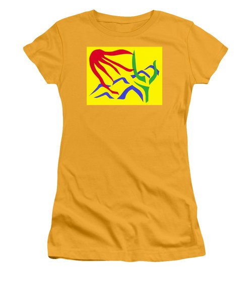 Women's T-Shirt (Junior Cut) featuring the mixed media Desert Sun by Delin Colon