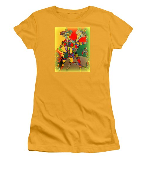 Women's T-Shirt (Junior Cut) featuring the painting Let's Go Brother by Marie Schwarzer