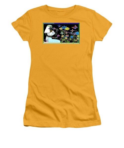 Women's T-Shirt (Junior Cut) featuring the digital art Egyptian Flower  Garden by Hartmut Jager